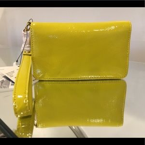 NEW HOBO ALLY CITRON COLOR PATENT LEATHER WALLET